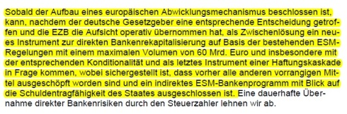 Koalitionsvertrag ESM Bankenrekapitalisierung